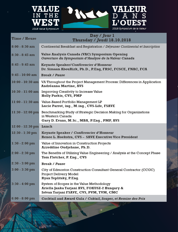 VAC Symposium 2018 - Schedule (Day 1)